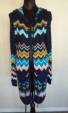 MISSONI FOR TARGET Multi Color Knit Hoody Long Cardigan Coat Sz XL