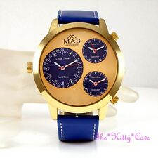 Designer Style Gold PL Blue Leather Triple Time 3 Zone Multi Dial Linen LK Watch