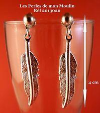 1 Paire Boucles d'Oreille Plume Argentée GM / 2013020