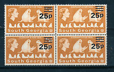 SOUTH GEORGIA 1971 DEFINITIVES SG30 25p on 5s BLOCK OF 4 MNH