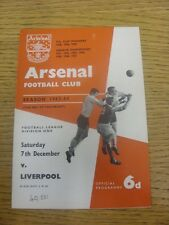 07/12/1963 Arsenal v Liverpool  (Light Crease, Attendance Noted On Cover & Team