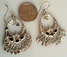Antique Sterling Silver Ornamental Design Dangle Earrings Black Onyx