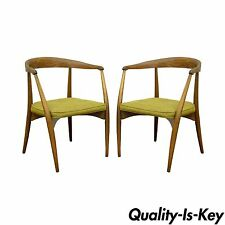 Pair of Mid Century Modern Walnut Dining Arm Chairs Hans Wegner Danish Style A