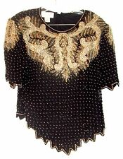 Sz L ~ Laurence Kazar Silver Bodice Beaded Top w/Black Scallop Beading