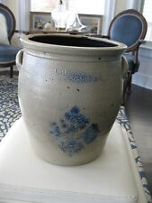 ANTIQUE F.H. COWDEN SNOWFLAKE STONEWARE CROCK 3-GALLON HARRISBURG PA
