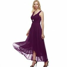 Kyrahh: Sleeveless Purple Ruched Chiffon Maxi Cocktail Party Evening Gown Dress