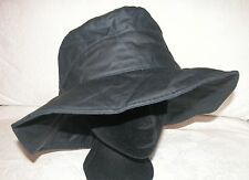 NAVY BLUE OILCLOTH/WAX HAT WITH BRIM -SOFTLY PADDED - XL/60/7 3/8 - NWOT