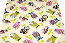 ~ [FQ] Cute Mix Owl Style on Cream Yellow 100% Cotton Fabric ~ Free Shipping
