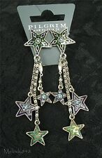 PILGRIM Earrings STAR Charm Silver Blue Purple Green Swarovski Enamel BNWT