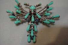Vtg. Rare Dragon Fly Brooch Faux Turquoise HAR Signed