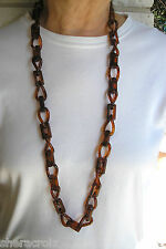 "Vintage 40"" Tortoise Shell Color Plastic Celluloid Chain Necklace or Belt"