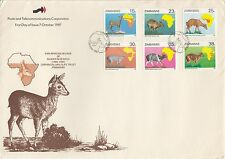 ZIMBABWE :1987 Duiker Survey set SG718-23 on illustrated First Day Cover