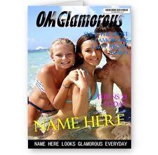 Personalised OMG Glamorous Fashion Magazine, Photo, Name & Age A5 Birthday Card