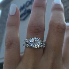 14K White Gold Round Diamond Engagement Wedding Wedding Band Bridal Ring Set