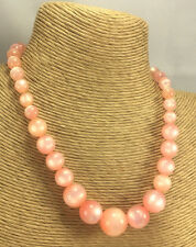 Vintage Necklace Moonglow Lucite Pink graduated Chunky Choker