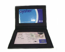 Persoanlised ID Black leather card holder oyster licence Add your Text