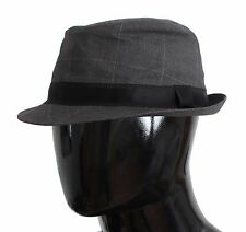 NWT $240 DOLCE & GABBANA Gray Cotton Logo Fedora Trilby Hat Cappelo s. 59 / L