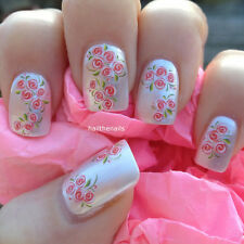 Nails WRAPS Nail Art Water Transfers Decals Pink Rose Buds Natural/False Y76#