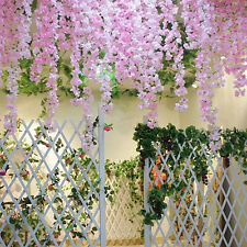 "2pcs 74"" Artificial Silk Flower Garland Vine Plant Wedding Arch Door Decor"