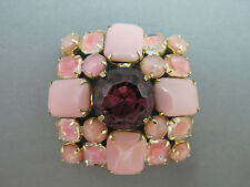 VTG Huge Rhinestone Brooch Pink Purple Givre Art Glass Princess Cut Gold Plated