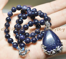 AA Galaxy Staras Blue Sand Sun Sitara GEMS ROUND BEAD NECKLACE DROP PENDANT 18""