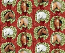 Fat Quarter Welcome Wreath Horses Christmas Cotton Quilting Fabric Springs