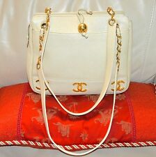 AUTHENTIC, TIMELESS,BEAUTIFUL CHANEL MULTI LOGO CREAM CAVIAR SHOULDER BAG.
