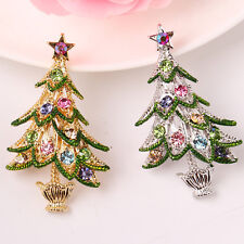 Delicate Colorful Rhinestone Crystals Christmas Tree Shape Brooch Pin Jewelry