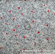 BonEful FABRIC FQ Cotton Quilt Cream Gray Swirl Red Heart Valentine Country Leaf