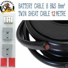 12 METRE 12M BATTERY CABLE 8 B&S 8mm² 8mm2 TWIN SHEATH CABLE 2X ANDERSON PLUGS