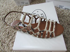NEW STEVE MADDEN SERPA STRAPPY  SANDALS WOMENS 9 NATURAL SNAKE FREE SHIP