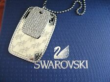 SWAROVSKI SWAN SIGNED RECENT DOGTAG PENDANT NECKLACE NEW IN BOX