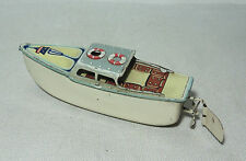 VINTAGE WESTERN GERMANY ARNOLD SMALL CLOCKWORK WIND-UP PAINTED TIN BOAT SHIP TOY
