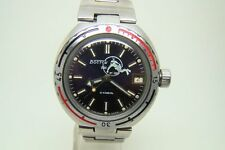 SOVIET USSR AUTOMATIC VOSTOK SCUBA DIVER FROGMAN MILITARY WATCH STEEL CASE 80s