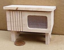 1:12 Scale Acabado Natural De Madera Hutch Para Conejos Y Mascotas Casa de muñecas en miniatura