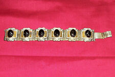 Vintage Black Face Mexican Bracelet Taxco 925 Sterling Silver Costume Jewelry 3