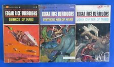 LOT of 3 Science Fiction Paperbacks G23 VG+ Edgar Rice Burroughs Martian Series