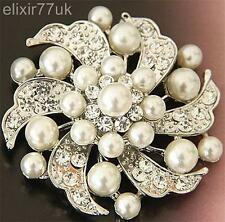 "2"" SILVER FAUX PEARL FLOWER BROOCH DIAMANTE CRYSTAL WEDDING BRIDAL PARTY BROACH"