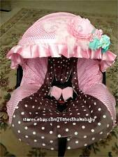 New adorable infant car seat cover canopy cover fit most seat Brown / baby pink