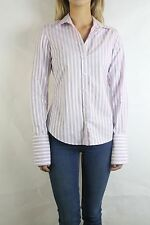 COUNTRY ROAD White Purple Stripe Cotton Blouse Shirt Size XS (8)
