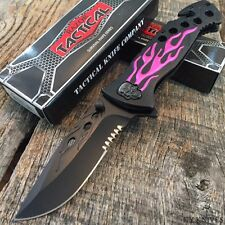 """RAZOR TACTICAL 8"""" Spring Assisted Opening Rescue Pocket Knife Pink Flames BOWIE"""