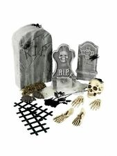 24pc Set Cemetery Graveyard Collection Skull Creepy Halloween Tombstone Prop Fun