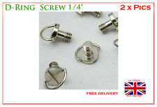 "Steel D-Ring Hinged Screw 1/4""  for Tripod Quick Release Plate SS Stainless UK"