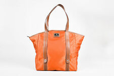 Lancel Orange Nylon Folding Tote Bag