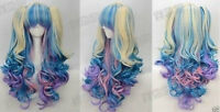 New Beautiful Gothic Lolita Wig+2 Pig Tails Set Pastel Rainbow Mix Blend Cosplay
