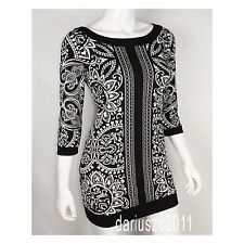 WHITE HOUSE BLACK MARKET SIZE SMALL  BLACK/ECRU PRINTED TUNIC BLOUSE TOP