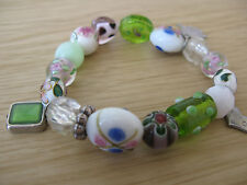 Pretty Beads and Charms Bracelet, Green/White/Pink