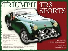 Triumph TR3 Classic British Sports Car Retro Vintage Old Medium Metal/Tin Sign