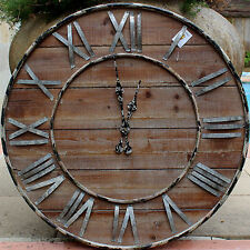 Industrial Style X Large Solid   Wood  Wall Clock      70 cm      BRAND NEW