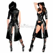 BLACK NEW WOMEN WET LOOK SEXY FAUX LEATHER HOODED DRESS GOTHIC CATSUIT JUMPSUIT